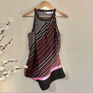 New York & Company Striped Sleeveless Top Size L